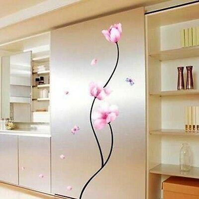 Removable Vinyl Pink Flower Butterfly Wall Sticker Mural Decal Room Decor Tool