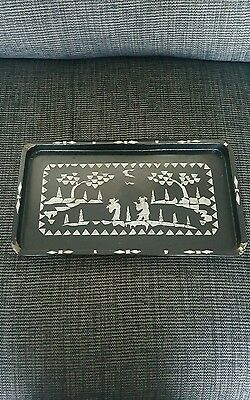 Antique Chinese Black Lacquer Tray with Mother of Pearl Inlay Rectangular