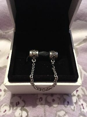 Genuine Pandora Two Tone Silver and 14ct Gold Heart Safety Chain