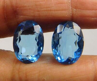 15.90 Cts. Treated Faceted Pair Of Swiss Blue Topaz Quartz 14x10mm Gemstone(YU80
