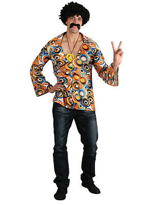 Adult XL Groovy Hippie Hippy Shirt Sixties 60s 70s Fancy Dress Costume Mens