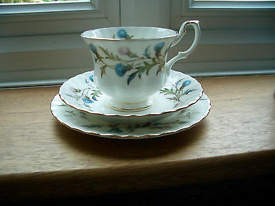 Royal Albert Brigadoon Bone China Cup Saucer And Side Plate Good Condition.