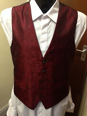 Beau Monde Waistcoat, Black & Red Pattern, Various Sizes, Wedding / Formal (048)