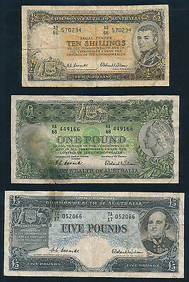 Australia: 1953-1954 10/-, £1 & £5 QEII Commonwealth Bk. SET of 3, Fine Cat $150