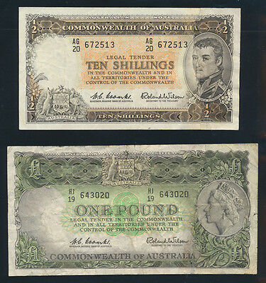 Australia: 1961 10/- & £1 QEII Portrait LAST PRE-DECIMAL ISSUES. VF & F Cat $115