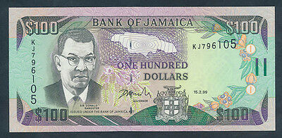 Jamaica: 15-2-1999 $100 SIR DONALD SANGSTER Portrait. Pick 76b, Crisp UNC