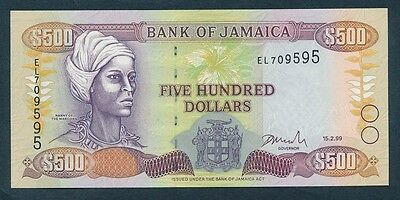 Jamaica: 15-2-1999 $500 NANNY OF THE MAROONS Portrait. Pick 77b, Crisp UNC
