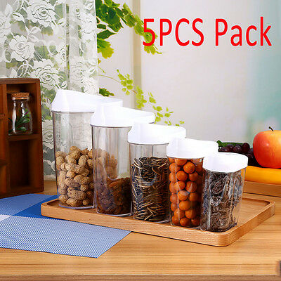 Plastic 5 Piece Cereal Dispenser Set Dry Food Storage Containers with White Lids