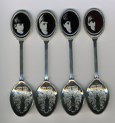 The Beatles 4 Silver Plated Spoons Featuring The Beatles