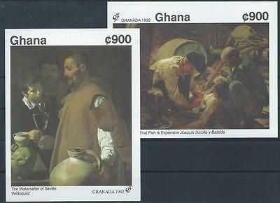 GHANA 1992 SG MS1721 Spanish Paintings Exhibition x 2 Mini Sheets Mint MNH