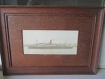 Old Steam Ship Photograph in Beautiful Antique Cedar Frame