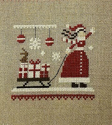Completed Cross Stitch Christmas Ornament Holiday Little Red Stitcher Sled Girl