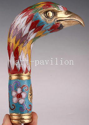 Color Cloisonne Enamel Large Eagle Statue Cane Walking Stick Head Handle Hand Vi