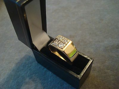 MANS .750 18CT YELLOW GOLD DIAMOND .25ct RING 10.8g SIZE V 1/2 BOXED REF 0844