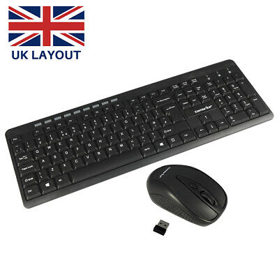 SUMVISION 2.4GHz Wireless Keyboard And Mouse Combo Set UK Full-Size & USB Dongle