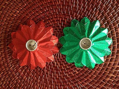 "Vintage Pair Of Red N Green Foil ""Happy Holidays""Christmas Candle Holders"