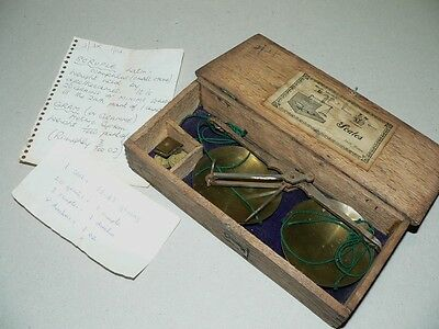 A good, early set of Apothecary/Chemical Scales complete with weights and case