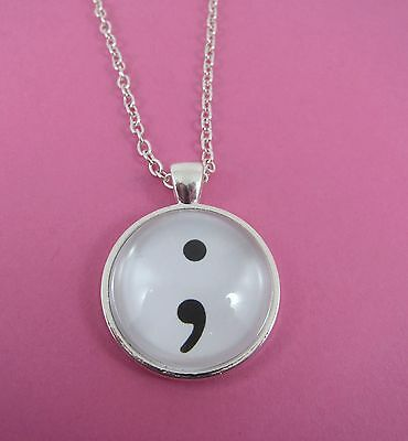 Semi Colon Silver Glass Necklace New Gift Bag Mental Health Awareness