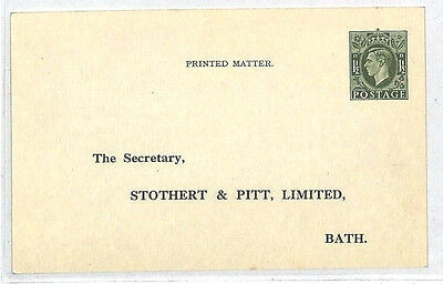 AA369 1955 GB KGVI Die STO Postal Stationery Card Bath *Stothert & Pitt* Unused