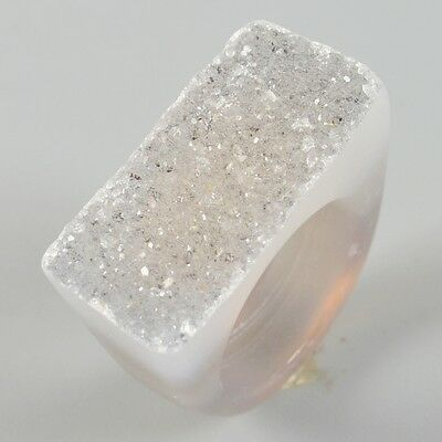 Size 7 Natural Agate Druzy Geode Ring B026371