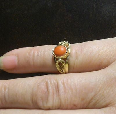 Rare Antique French  585 (14K)  Yellow Gold Natural Coral Cabochon Ring. Size 5.