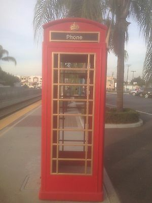 Red British London Cast ALUMINUM Telephone PHONE BOOTH  English lion foundry