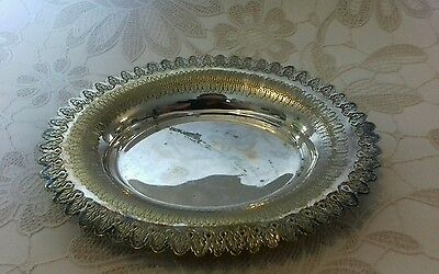 small vintage silver plate colour oval decorative tray or dish