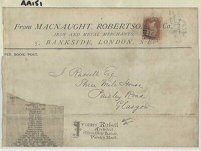AA151 1868 GB ARCHITECT Private Handstamp*James Russell* Wrapper London Glasgow