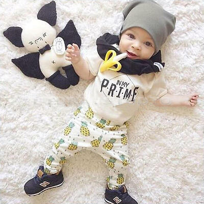 Fashion T-shirt Tops+ Long Pants Outfits Sets for 0-6 M Unisex Newborn Baby Kids