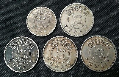 Emirate Of Kuwait Lot Of 5 Coins 50 & 100 Fils 1961 1St Issue L@@k!