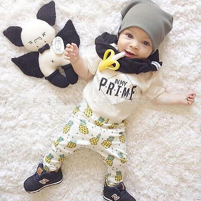 Fashion T-shirt Tops+ Long Pants Outfits Sets for 6-12M Unisex Newborn Baby Kids