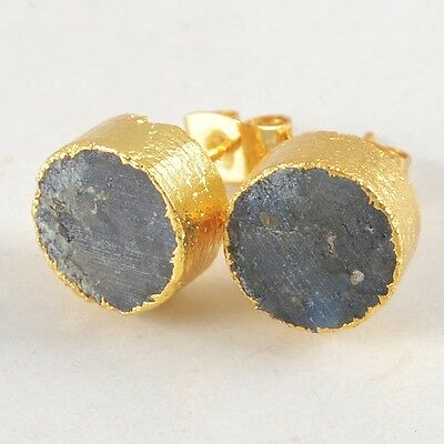 10mm Round Natural Labradorite Stud Earrings Gold Plated B026390