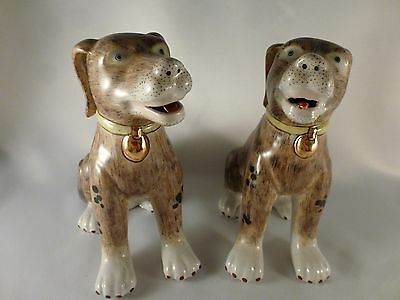 Chinese Porcelain Hand Painted Dog Pair, Male Female, Vintage or Antique