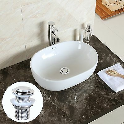 Bathroom Countertop Oval Bowl Top Ceramic Basin Sink with free Pop Up Waste