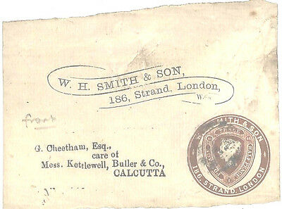 AA164 1881 GB ADVERTISING RING *W.H.Smith*Postal Stationery Front Calcutta India