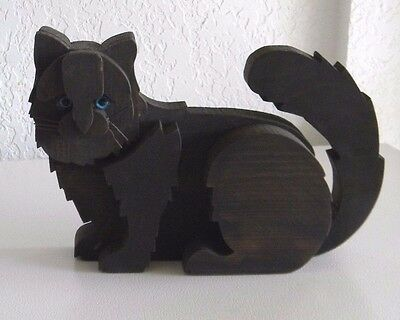 "Tarzia Wood Carved Brown Cat Figure Blue Eyes approx. 12"" L from Firenze ITALY"