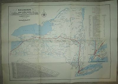 "Large Vintage 1947 New York State Railroad Map 20"" x 28"""