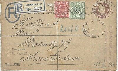 AA170. 1907 London to Amsterdam Cover