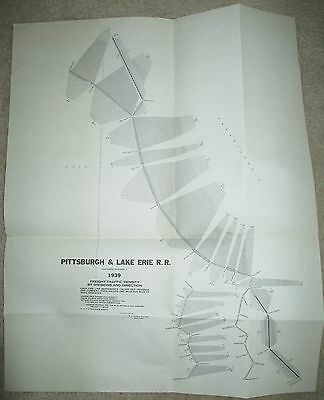 "Vintage 1939 Pittsburgh & Lake Erie Freight Density Railroad Map 14"" x 18"""