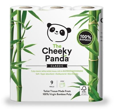 The Cheeky Panda 100% Bamboo Toilet Tissue - 9 Rolls