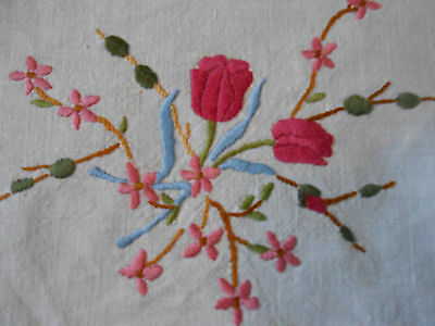 Beautiful Vintage Linen Circular Hand Embroidered Table Topper