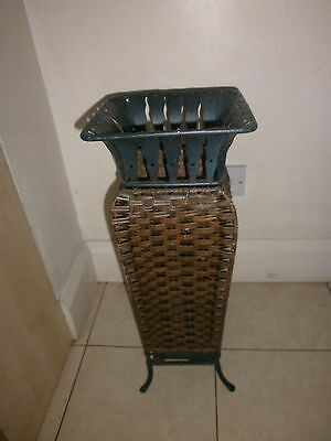Lovely Green Wrought Iron And Wicker Umbrella Stand, Walking Stick Stand