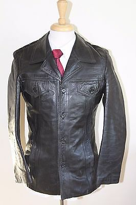 vintage MENS 70S RETRO BLACK SOFT LEATHER SAFARI JACKET COAT BY SZ 38