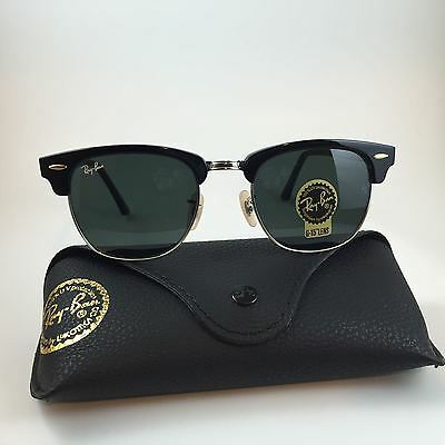 Ray Ban RB3016 Clubmaster Size 51 mm Black Silver Sunglasses