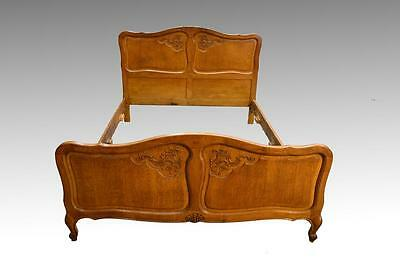 16907 Antique French Victorian Raised Panel Carved Oak Bed