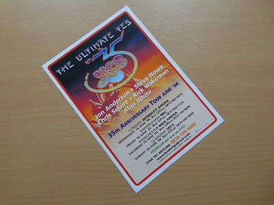 Yes - 35th Anniversary UK Tour 2004 A5 Flyer (Mint Condition!)
