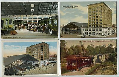 5 Old Indianapolis Indiana Depot Terminal Train Shed Traction Trolley Postcards