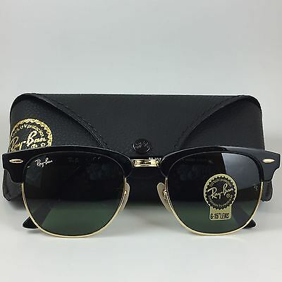Ray Ban RB3016 Clubmaster Size 51 mm Black Gold Sunglasses