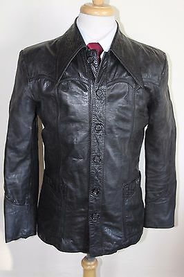vintage MENS 70S RETRO BLACK SOFT LEATHER SAFARI JACKET COAT BY SZ 36