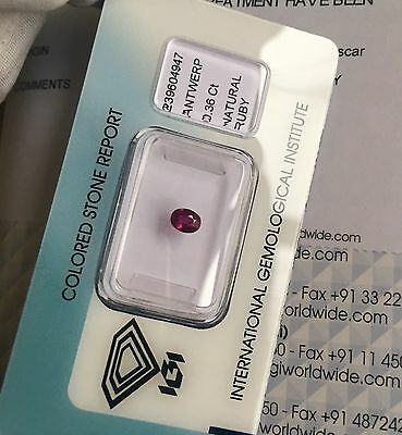 NATURAL Untreated Thai Ruby 0.36ct Rare IGI CERTIFIED Unheated DEEP Red Gem
